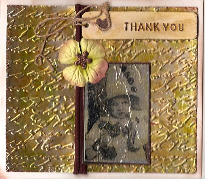 Thank You stamped foil card