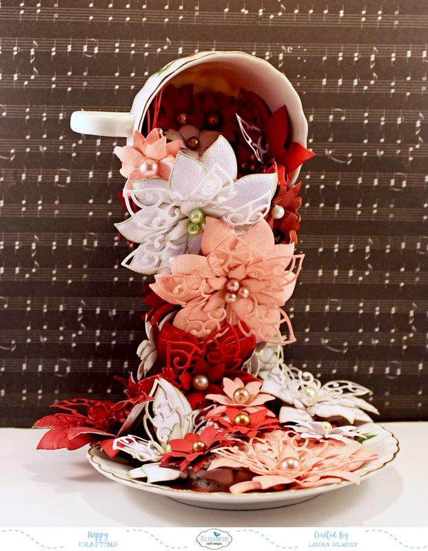 Ponsettia Tea Cup *Elizabeth Crafy Designs*