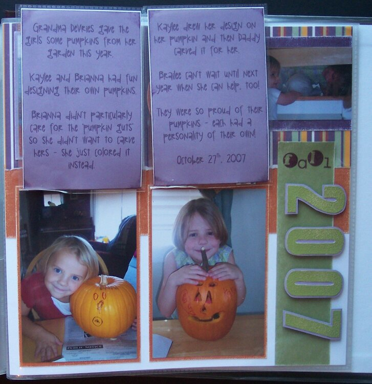 Pumpkin Carving Right Page - Hidden Journaling and pics