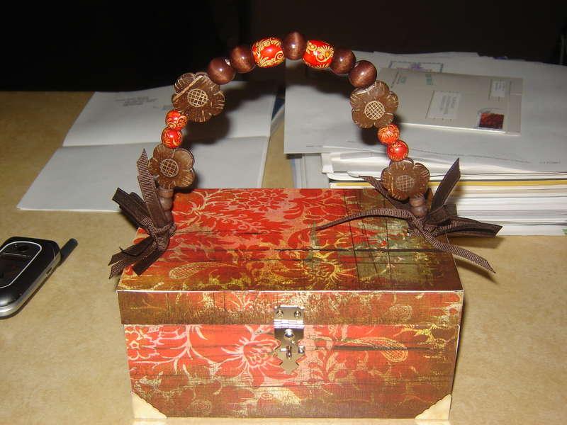 First altered wooden cigar box purse