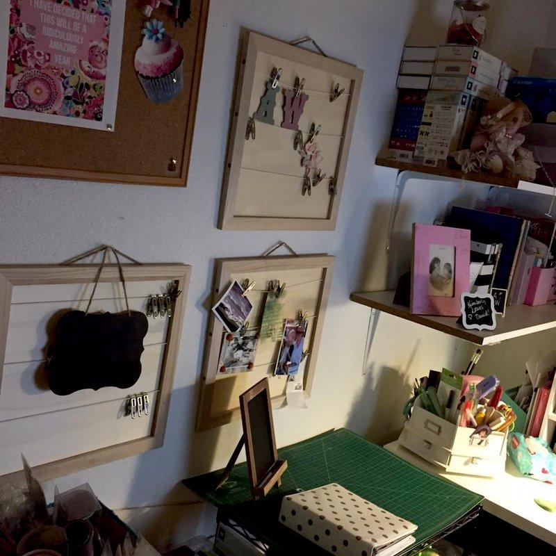 New craft storage on walls