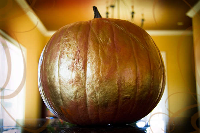 metallic painted pumpkin