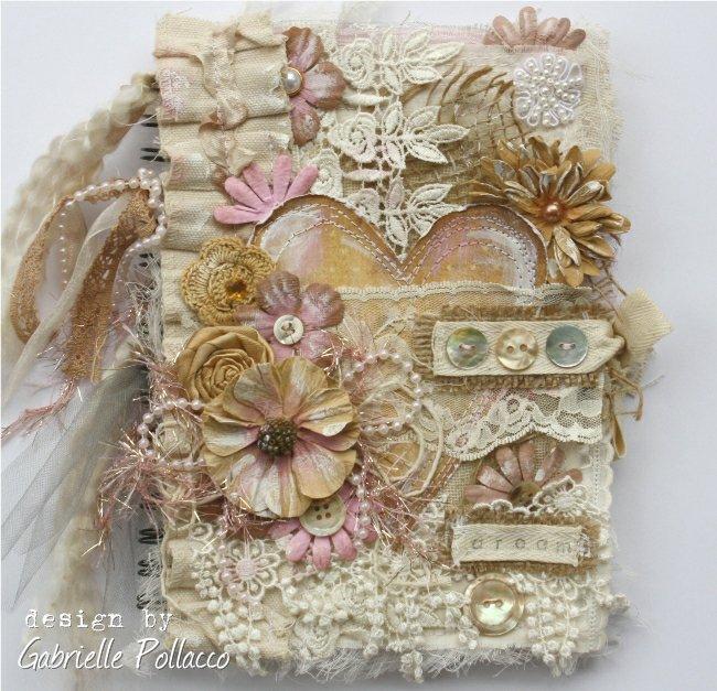Vintage Style Fabric & Flower Journal Cover **Bo Bunny & Tresors de Luxe**