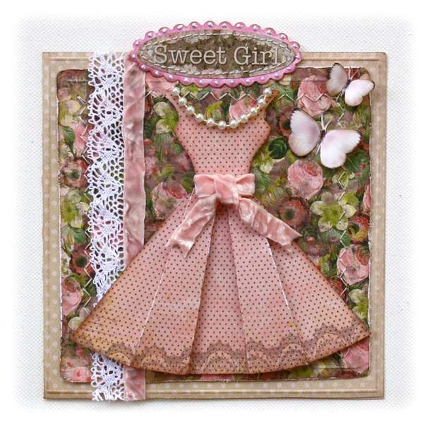 "Bo Bunny ""Little Miss"" Card PLUS Template for dress"