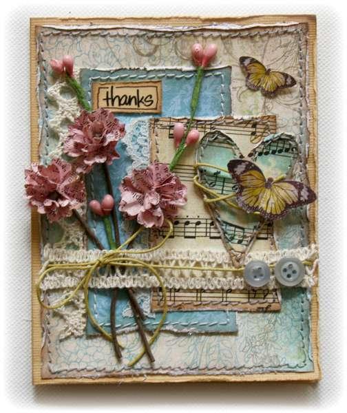 Thanks Card *Bo Bunny Handmade Flower Challenge!**