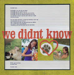 We didn't know