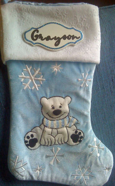 Personalized Christmas Stocking Using Gypsy Font & Pink Cricut Expression