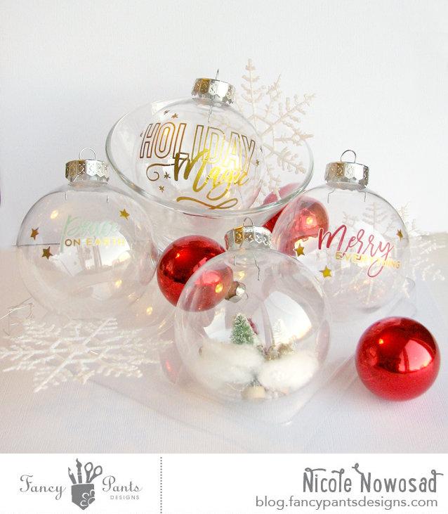 DIY Rub On Festive Ornaments