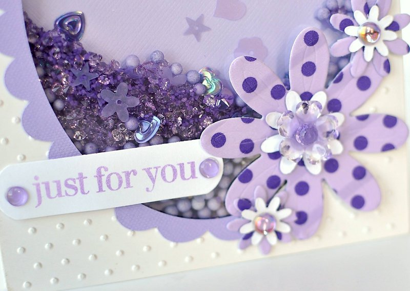 Just For You featuring Queen and Company Oval Foam Front Shaker Card Kit willed with multiple toppings