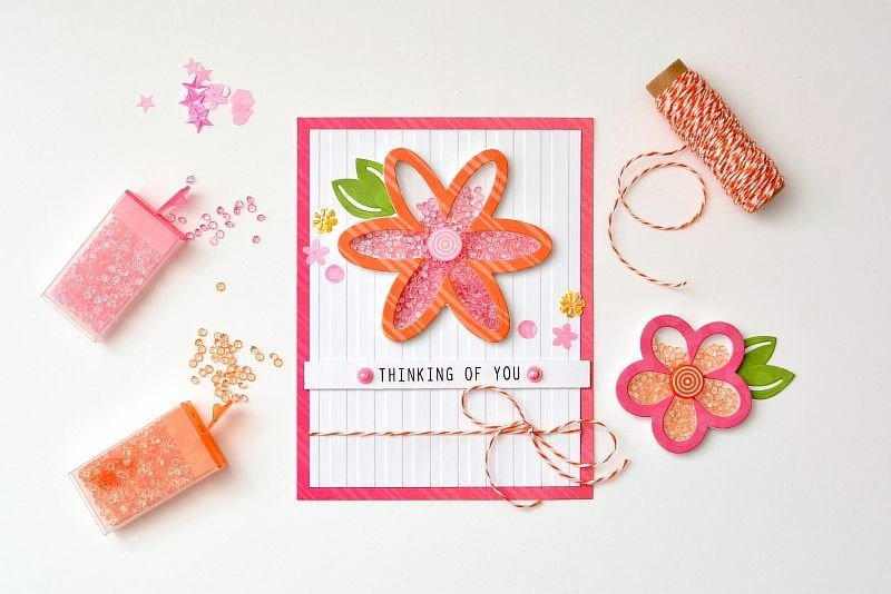 Thinking of You featuring the Flowers Shaker Shape Kit from Queen and Company