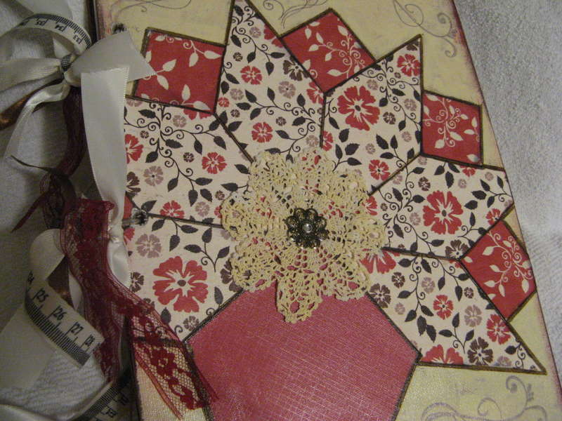 Altered Canvas Journal (Nosegay Quilt block pattern)
