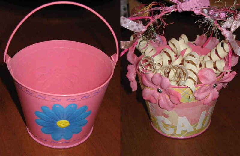 Caitlin's Easter pail before and after