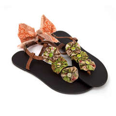 New BasicGrey Glazed Button adorned Flip Flops