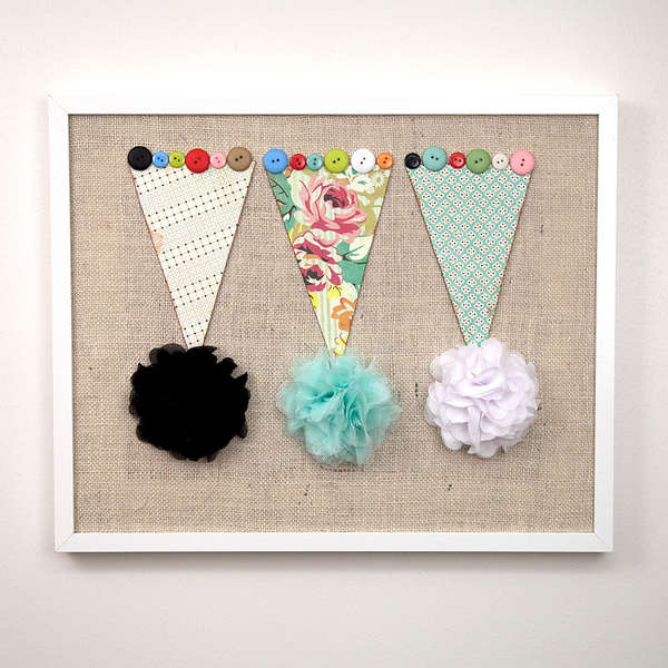 Fabric Banner with Bounce Blossoms and Large Resin Buttons