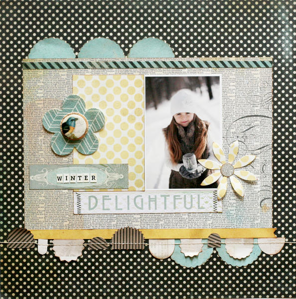 Winter Delightful featuring the Serenade Stitched Garland from BasicGrey