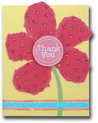 Red Flower Thank You Card