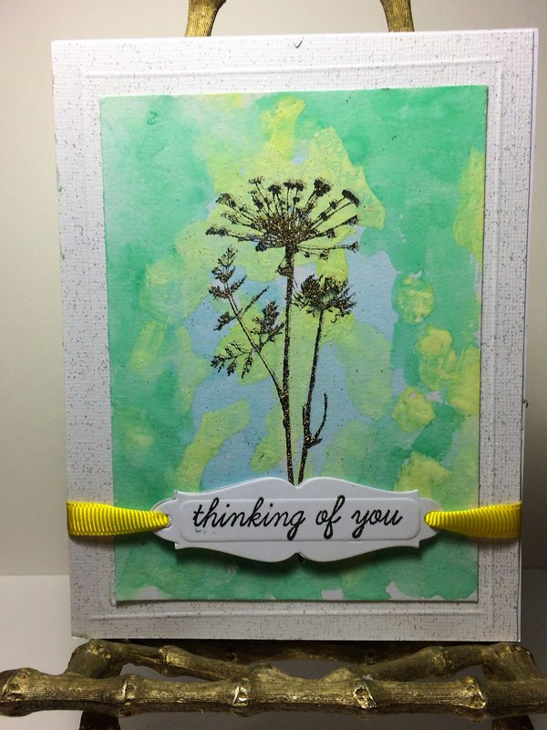 Thinking of You Card watercolor/stamped/embossed