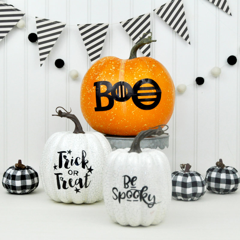 Halloween Pumpkins with Black Vinyl