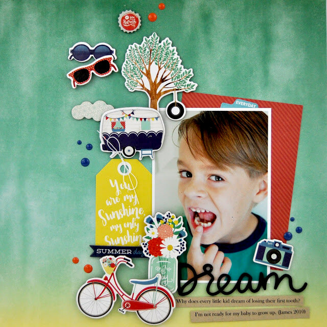 """Dream"" Layout with Chipboard Stickers"