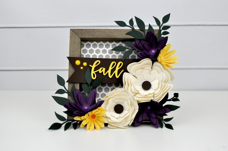 Fall Painted Frame with 3D Flowers