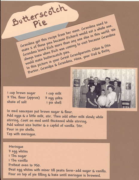 Butterscotch Pie  Heritage Recipie Album