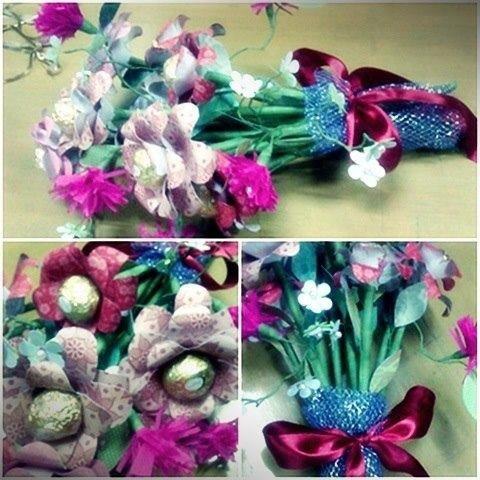 Chocolate centered flower bouquet