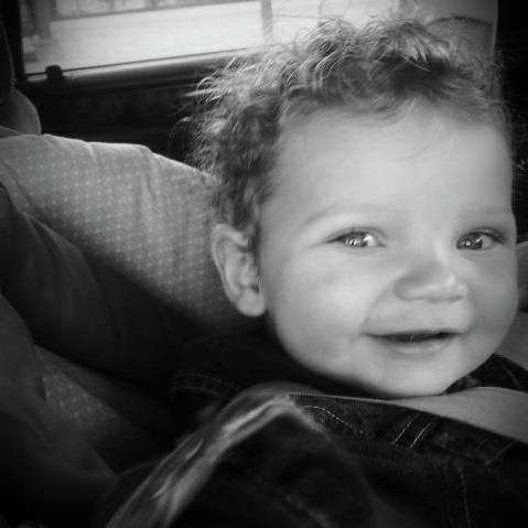 Black n white Baby in a Car Seat