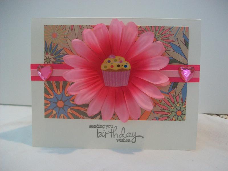 Pink Birthday Cupcake Flower Card