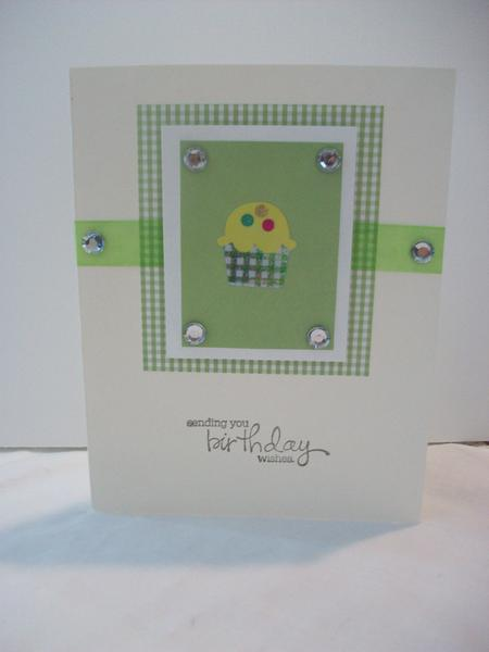 Happy Birthday Green Cupcake Card