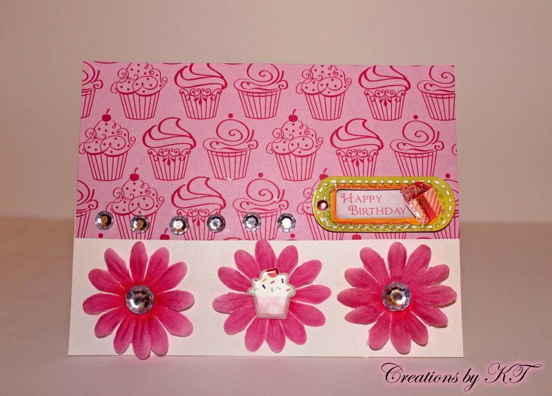 Pink Birthday Flower Cupcake Card
