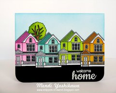 Sunny Studio Happy Home card by Mendi Yoshikawa