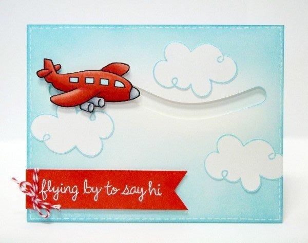 Lawn Fawn Flying By Airplane Card by Mendi Yoshikawa