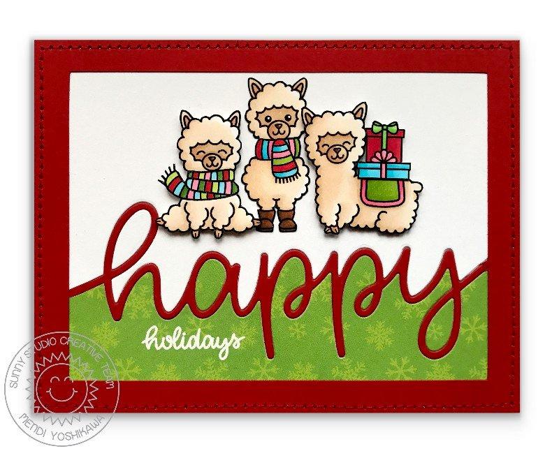 Sunny Studio Stamps Alpaca Holiday Christmas Card by Mendi Yoshikawa