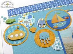 Doodlebug Anchors Aweigh Scrapbook Layout by Mendi Yoshikawa
