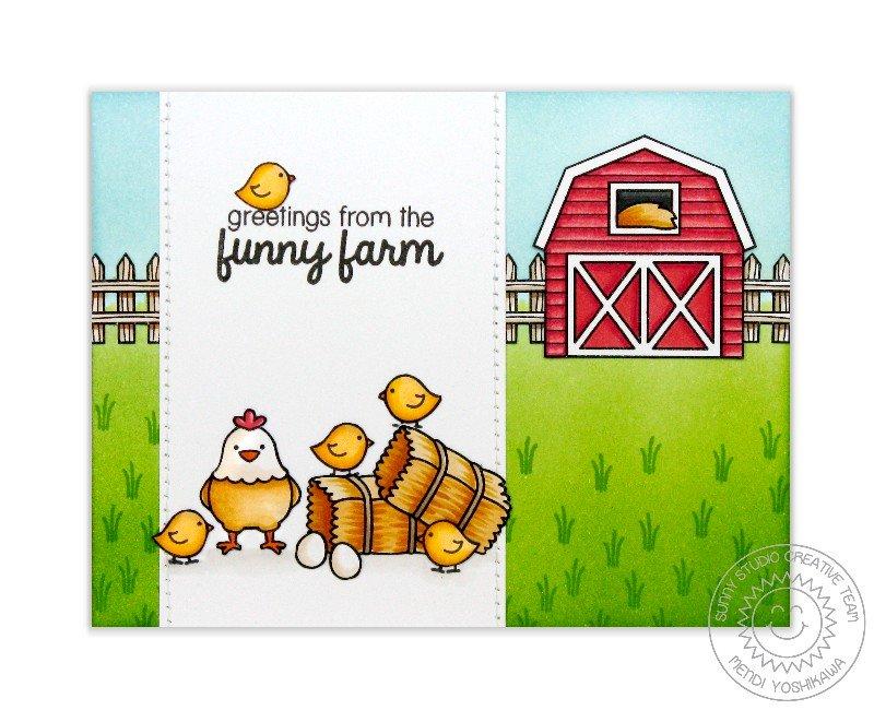 Sunny Studio Stamps Barnyard Buddies Card by Mendi Yoshikawa