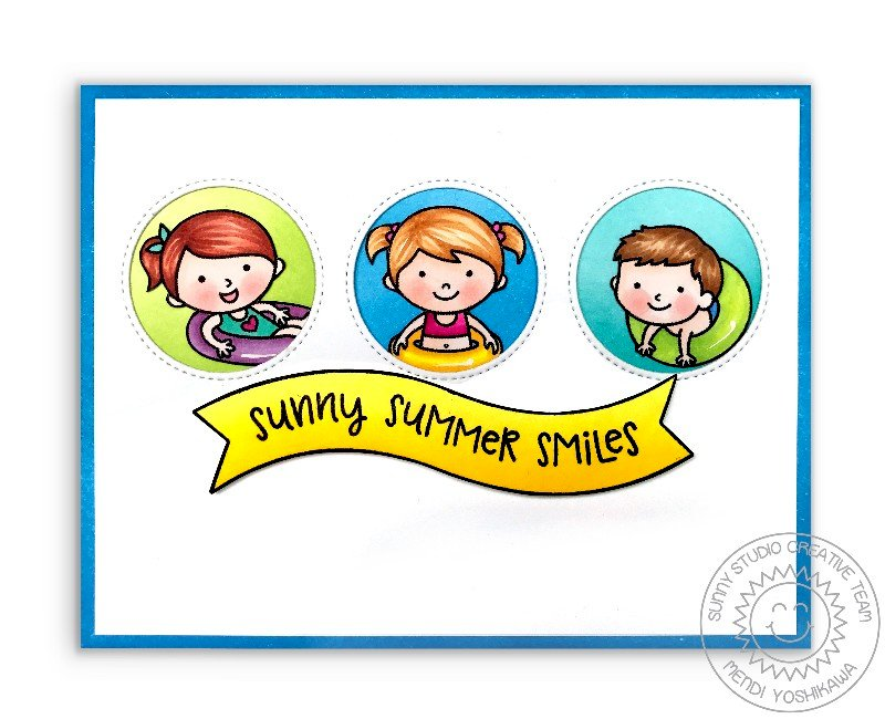 Sunny Studio Stamps Beach Babies Card by Mendi Yoshikawa