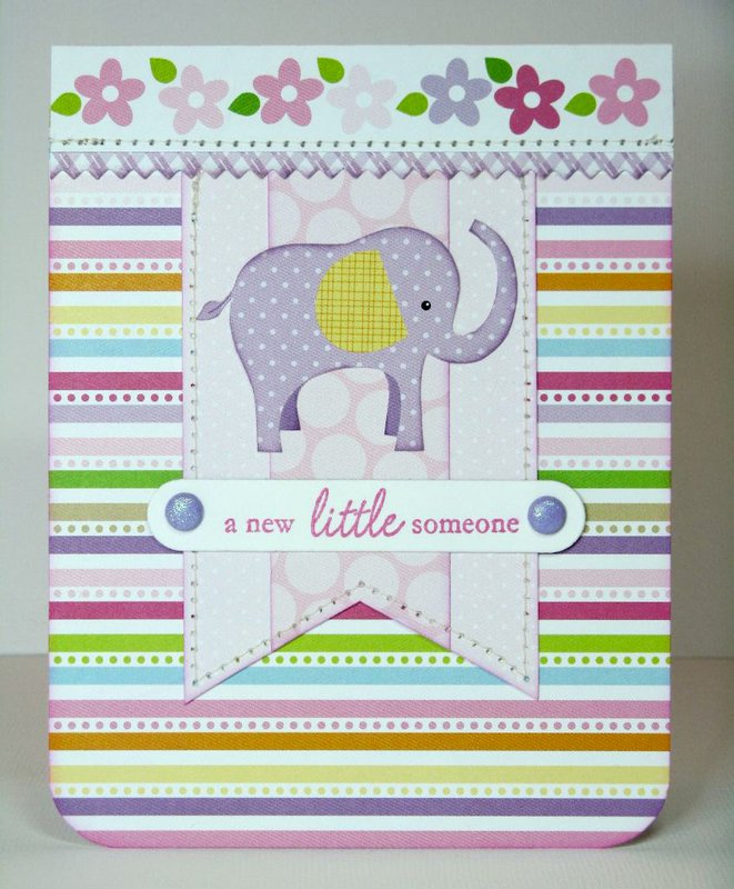 A Bella Blvd. Baby Girl Elephant Card by Mendi Yoshikawa