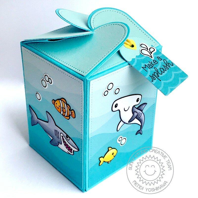 Sunny Studio Stamps Ocean Themed Wrap Around Gift Box by Mendi Yoshikawa