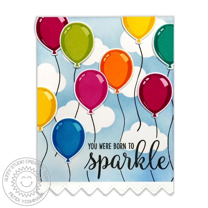 Sunny Studio Stamps Birthday Balloon Card by Mendi Yoshikawa