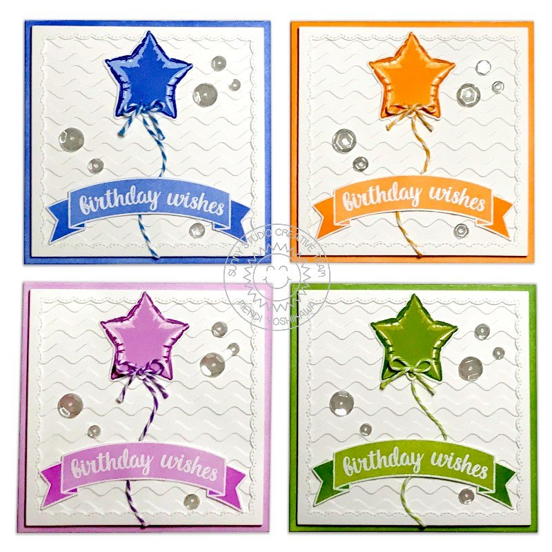 Sunny Studio Stamps Bold Balloons Card by Mendi Yoshikawa