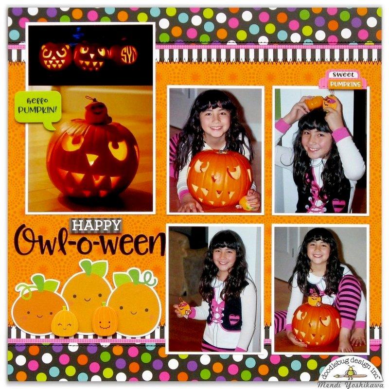 Doodlebug Booville Halloween Pumpkin Layout by Mendi Yoshikawa