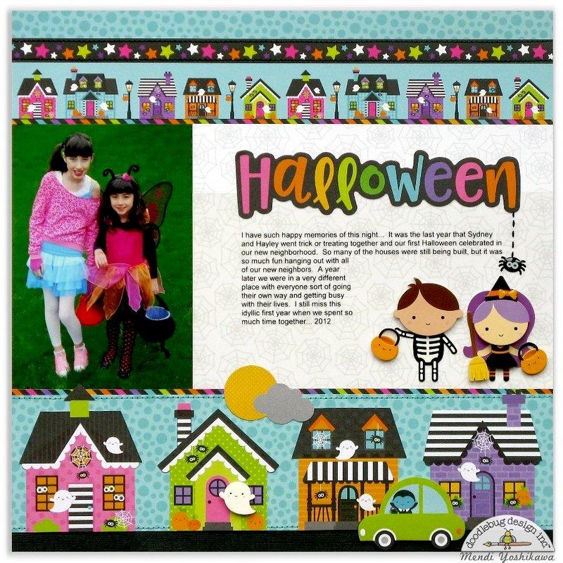 Doodlebug Booville Halloween Trick or Treat Layout by Mendi Yoshikawa