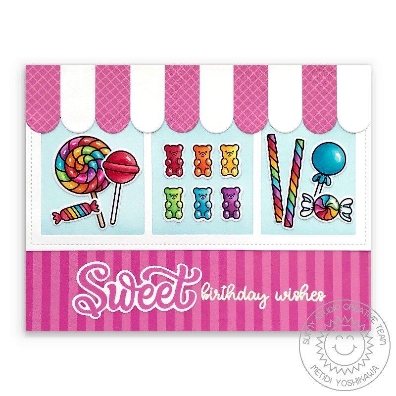 Sunny Studio Candy Shoppe Card by Mendi Yoshikawa