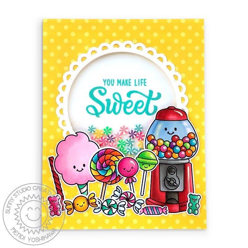 Sunny Studio Candy Shoppe Shaker Card by Mendi Yoshikawa