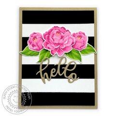 Sunny Studio Captivating Camellias Card by Mendi Yoshikawa