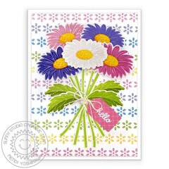 Sunny Studio Cheerful Daisy Spring Card by Mendi Yoshikawa
