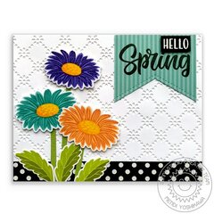 Sunny Studio Cheerful Daisy Spring Card by Mendi Yoshikawa