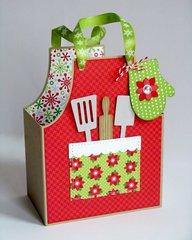 A Doodlebug Christmas Apron Gift Bag by Mendi Yoshikawa