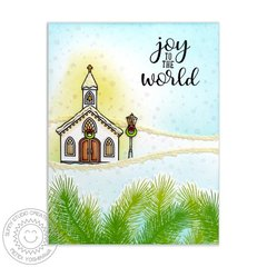 Sunny Studio Christmas Chapel Card by Mendi Yoshikawa