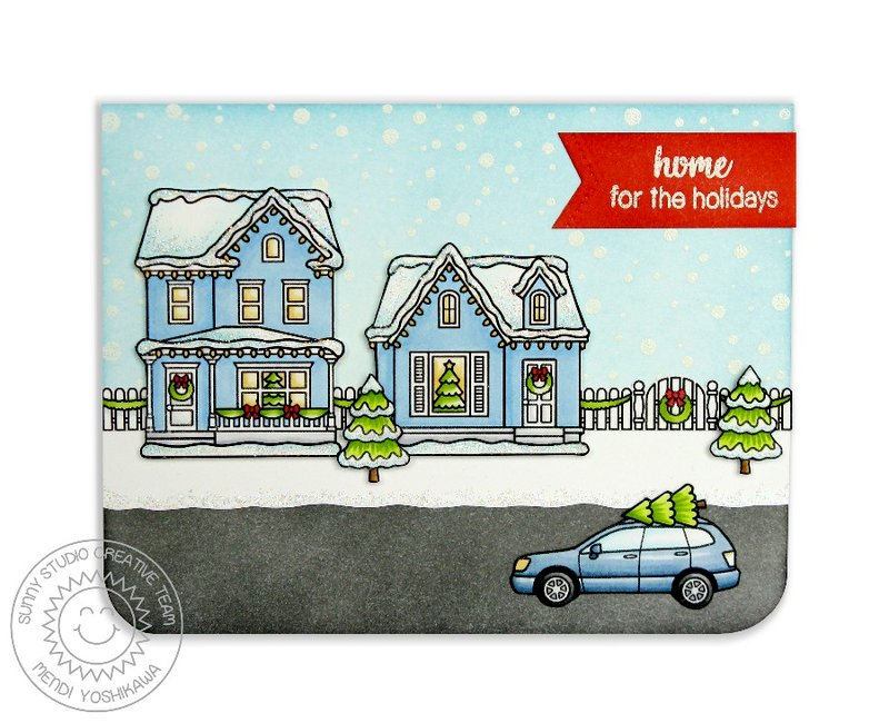 Sunny Studio Christmas Home Card by Mendi Yoshikawa